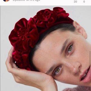 Zara medium cranberry red velvet flower headband .